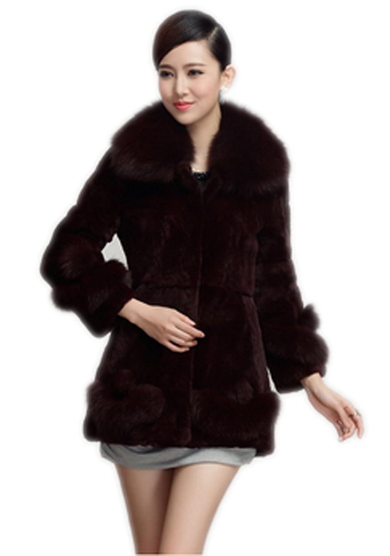 YR.Lover Damen wirklich Rex Kaninchen Pelz Mantel&Jacke Mit Fuchs Pelz Kragen jetzt kaufen