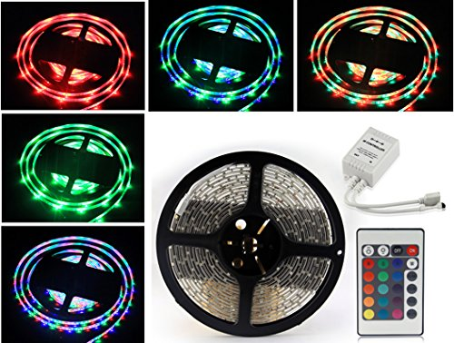 Socal-Led 5M 16.4Ft Rgb Multi-Color Flexible Led Strips High Bright 300 Smd3528 Remote Control Ip65 Waterproof With 3M Tape Cuttable