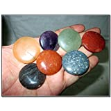 Fantastic Chakra Gemstone Disc Round Stone Set Palm Worry Stone Thumb Stone Crystal Therapy Geometry Platonic Solid Sacred Air Water Earth Fire Hexagon Tetrahedron Hexahedron Icosahedron Square Octahedron Pentagon Star Merkaba Amethyst Lapis Lazuli Green Aventurine Red Jasper Yellow Aventurine Quartz Crystal Healing Chakra Balancing Unique Rare Energy Love Divine Spiritual Psychic Arch Angel Christmas Gift India Gemstone Original Authentic Genuine Crystals Stress Free Relaxation Concentration Business Success Meditation Positive Power Peace Prosperity Health Wealth Family Bonding Relationship (Color: Mix)