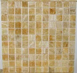 Arizona Tile ST-207 Sterling 1-by-1-Inch Stone on a 12-by-12-Inch Mosaic Mesh, Yellow Onyx - 4-Pack