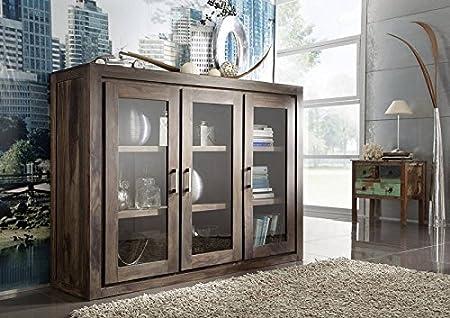 legno massello palissandro LACCATO MOBILI GRIGIO PIASTRA ALTA Sheesham mobili in legno massello in legno massello METRO POLIS #114
