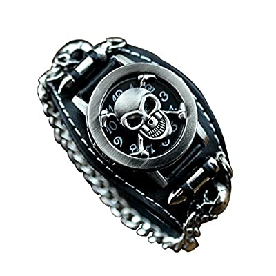 COCOTINA Fashion Metal Punk Rock Gothic Black Leather Clamshell Skull Chain Unisex Belt Watch