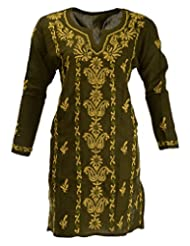 Banthan Women's Cotton Regular Fit Kurta (Bant_1011, Olive Green, 44)