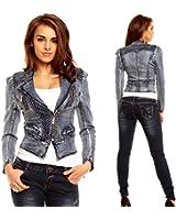 Ladies Womens Stylish Casual cropped Blue Denim jeans Jacket - UK 6 8 10 12 14