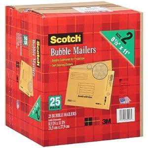 3M Scotch 8.5'' x 11'' Bubble Mailer Envelope, Size #2, 25 Per Box