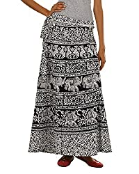 Fashiana Womens Cotton Wrap Skirt (Fskt87Kt _Black & White _Free Size)