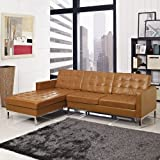 LexMod Florence Style Left-Arm Corner Sectional Leather Sofa, Tan