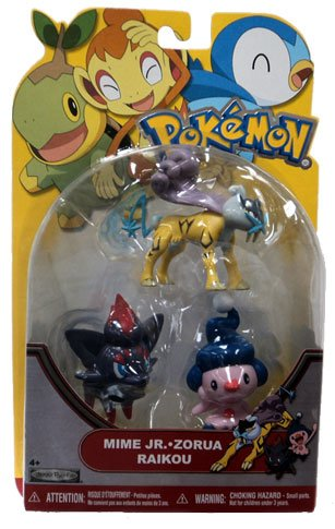 Buy Low Price Jakks Pacific Pokemon Series 19 Basic Figure 3Pack Mime Jr., Raikou Zorua (B004WLL688)