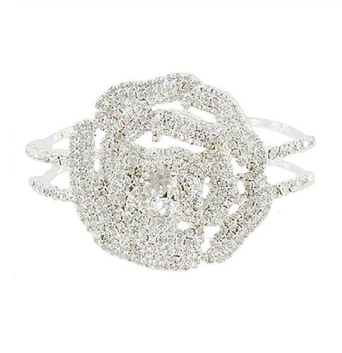 JOA Rhinestone Rose Design Hinged Bracelet #039911