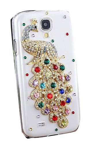3D Peacock Crystal Bling Clear Case For SUMSUNG // 5S/5C/4G 4S image