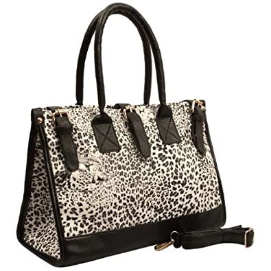 NADIRA White Snow Leopard Print Top Double Handle Office Tote Satchel Hobo Handbag Purse Shoulder Bag