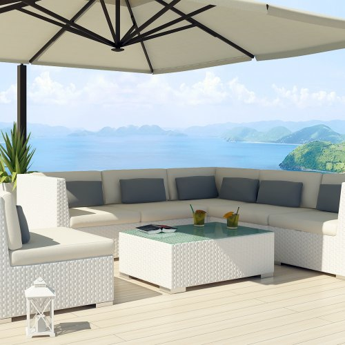 Uduka Outdoor Sectional Patio Furniture White Wicker Sofa Set Luxor Off White All Weather Couch picture
