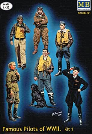 """Master Box Models 1/32 """"Famous Pilots of WWII"""" Part 1 - 6 Figures Set with Biographies Leaflet"""