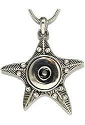 AnsonsImages Clear Rhinestone Starfish Pendant Silver Tone Snap On Button Necklace Wedding Gift