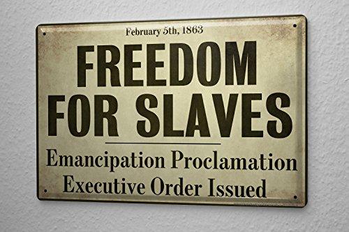 Cartello Targa In Metallo Motivo Nostalgico Libertà per gli schiavi 20X30 cm