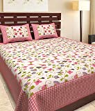Kismat Collection Vintage Designs Cotton Printed Double Bed Size Bedsheet With 2 Pillow Cover