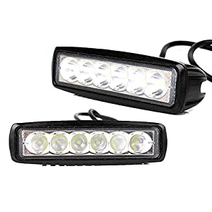 TTX LIGHTING - 2PCS LED Work Light Bar 18W Square 30 Degree Spot Beam