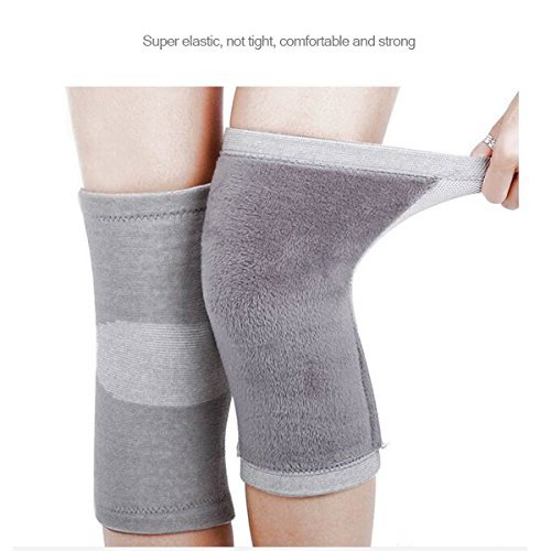 Restar Bamboo Charcoal Cashmere Warm Metal Spring Fitness Knee Pad Unisex Cashmere Knee Brace Pads Winter Warm Thermal Knee Pad 1 Pair (50 Shades Of Gray Merchandise compare prices)
