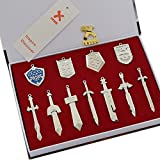 Xcoser Fancy Mini Weapons Shield And Sword Silver Keychain Necklace Collection Set 11pcs