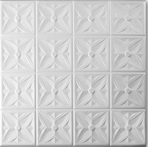 A la Maison Ceilings 8111 Styrofoam Ceiling Tile (Package Of 8 Tiles), Plain White
