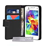 Yousave Accessories PU Leather Wallet Cover Case for Samsung Galaxy S5 Mini - Black