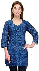 Gazi Women's Khadi Cotton Regular Fit Kurti (GF201520_36, Blue, 36)