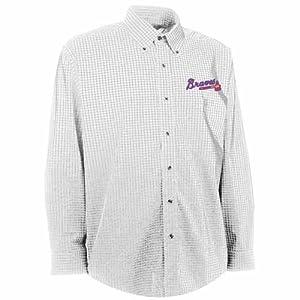 Atlanta Braves Esteem Button Down Dress Shirt (White) by Antigua