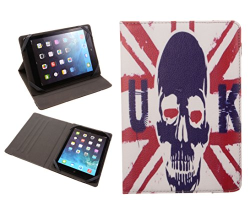 Big Dragonfly Slim Universal Multi Model Fit Flip Case Cover For Apple Ipad Mini 1, 2/Retina With Built-In Multi Angle Stand And Elastic Strap ( Uk Flag And Skull) front-215997
