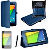 MOFRED® Royal Blue New Google Nexus 7 2 II Tablet (Launched July 2013) Case-(Second Updated Version of Case)-MOFRED® Executive Multi Function Case with Built-in Magnet for Sleep / Wake feature for the Google Nexus 7 II-2nd Generation Tablet 16GB or 32GB eMMC ,Qualcomm Snapdragon S4 1.5GHz Processor, Screen Protector + Stylus Pen (Available in Mutiple Colors)