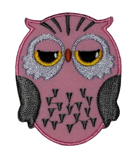 Cute Pink Owl Cartoon Diy Applique Embroidered Sew Iron On Patch Ow-005 front-960667