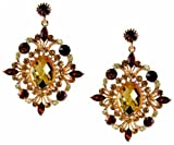 Vintage Victorian Topaz & L topaz Crystals chandelier earrings-Gold-6cm Velvet bag
