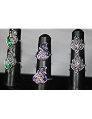 NAK's Combo Of 3 German Silver Toe Rings,Peacock Toe Ring Included - SKUTR114