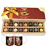 Chocholik Belgium Chocolates - 16pc Designer Box Of Truffles With Diwali Special Coffee Mugs - Gifts For Diwali