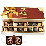 Chocholik Belgium Chocolates - 16pc Designer Box Of Truffles With Diwali Special Coffee Mugs - Gifts For Diwali