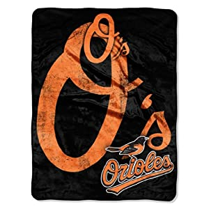 MLB Baltimore Orioles Micro Raschel Plush Throw Blanket, Trip Play Design by Northwest