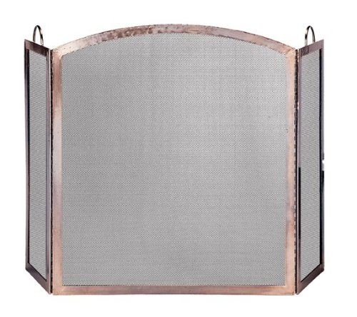 Uniflame, S-1307, 3-Panel Antique Copper Finish Screen with Arched Center Panel (Antique Fireplace Screen compare prices)