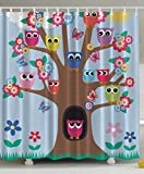Ambesonne Cute Owls on Tree BFF Best Friends Forever Creative Home Accent Special Amiable Amusing Funky Design for Friendship Decor for Teen Girls Polyester Fabric Shower Curtain 6970