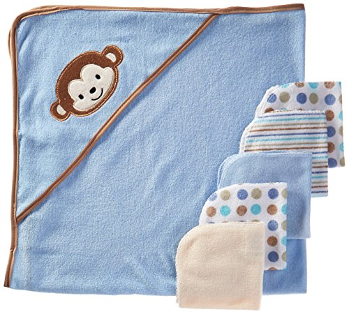 regent-baby-crib-mates-hooded-towel-with-5-wash-cloths-blue-monkey-pink