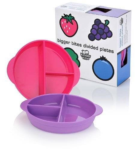 Kinderville Bigger Bites Divided Plates (Set of 2, Pink/Purple)