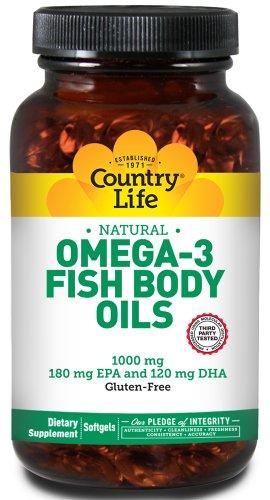 Country Life - Omega-3 Natural Fish Body Oils Providing Epa And Dha 1000 Mg. - 300 Softgels