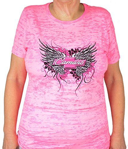 Women's Pink Chevy Camaro Winged T-shirt - by JRC (Chevy Camaro Womens Apparel compare prices)
