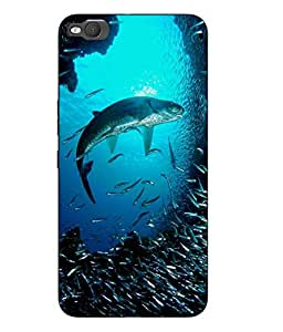 Snazzy Fish Printed Blue Hard Back Cover For HTC One X9 Smartphon