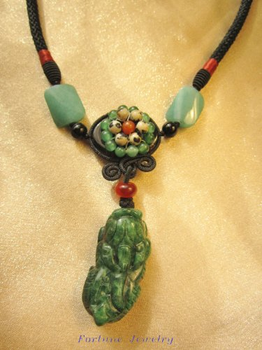 Feng Shui Tiger Dark Green Carved Jade Pendant (40mm x20mm x 10mm) Necklace with Unique Design Flora Cord – Fortune Jewelry Imperial Jade Collection