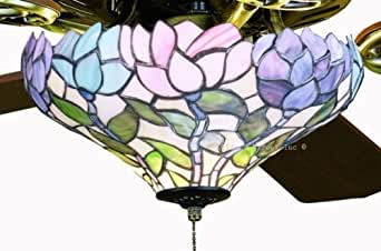 Wisteria Tiffany Globe Stained Glass Ceiling Fan 52 Inches Width
