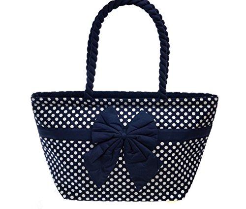 Small 100%Cotton Polka Dot Shoulder Bag Vintage style by NarayaThailand (Blue and white)