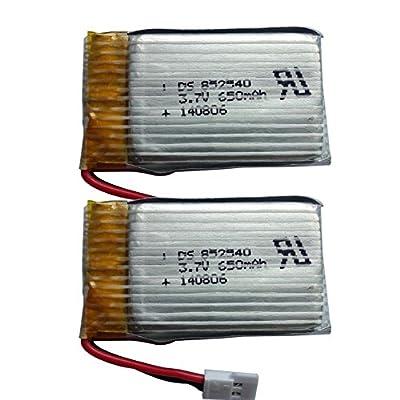Upgraded Syma X5C X5 3.7V 650mAh 25C Lipo Battery(2Pieces) by Living Stone