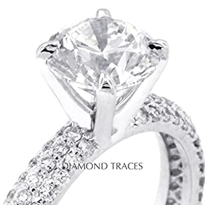 4.77 Carat Round Natural Diamond AGI Certified D-IF Excellent Cut 14k White Gold 4-Prong Setting Three-Pave Rows Engagement Ring