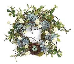 Blue Hydrangea Wreath With Nest Spring Wreath