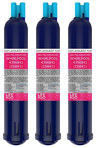 3 Pack Refrigerator Water Filter 4396841 4396710 Filter3 Replacement by LifeH2O | Advanced Filtration Technology | Easy Installation | Compatible with Maytag Whirlpool Kenmore and PUR Fridge Models (Whirlpool Advanced Water Filter compare prices)