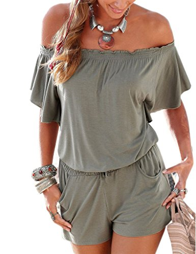 Minetom Donna Senza Spalline Manica Corta Mini Tutina Tuta Clubwear Jumpsuits Playsuit Grigio IT 38